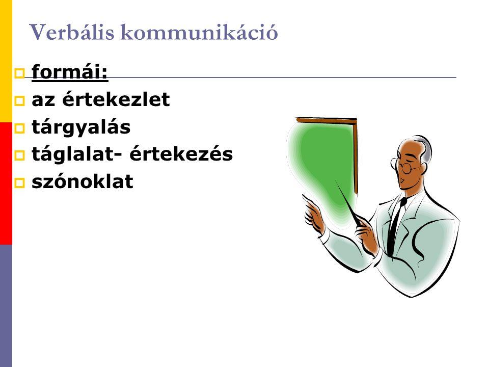 Verbális kommunikáció  formái:  az értekezlet  tárgyalás  táglalat- értekezés  szónoklat