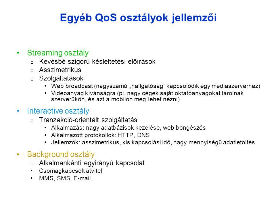 """Egyéb QoS osztályok jellemzői •Streaming osztály  Kevésbé szigorú késleltetési előírások  Asszimetrikus  Szolgáltatások •Web broadcast (nagyszámú """"hallgatóság kapcsolódik egy médiaszerverhez) •Videoanyag kívánságra (pl."""