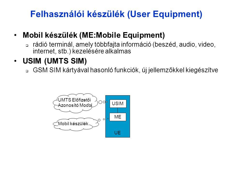 Felhasználói készülék (User Equipment) •Mobil készülék (ME:Mobile Equipment)  rádió terminál, amely többfajta információ (beszéd, audio, video, internet, stb.) kezelésére alkalmas •USIM (UMTS SIM)  GSM SIM kártyával hasonló funkciók, új jellemzőkkel kiegészítve USIM ME UE Mobil készülék UMTS Előfizetői Azonosító Modul