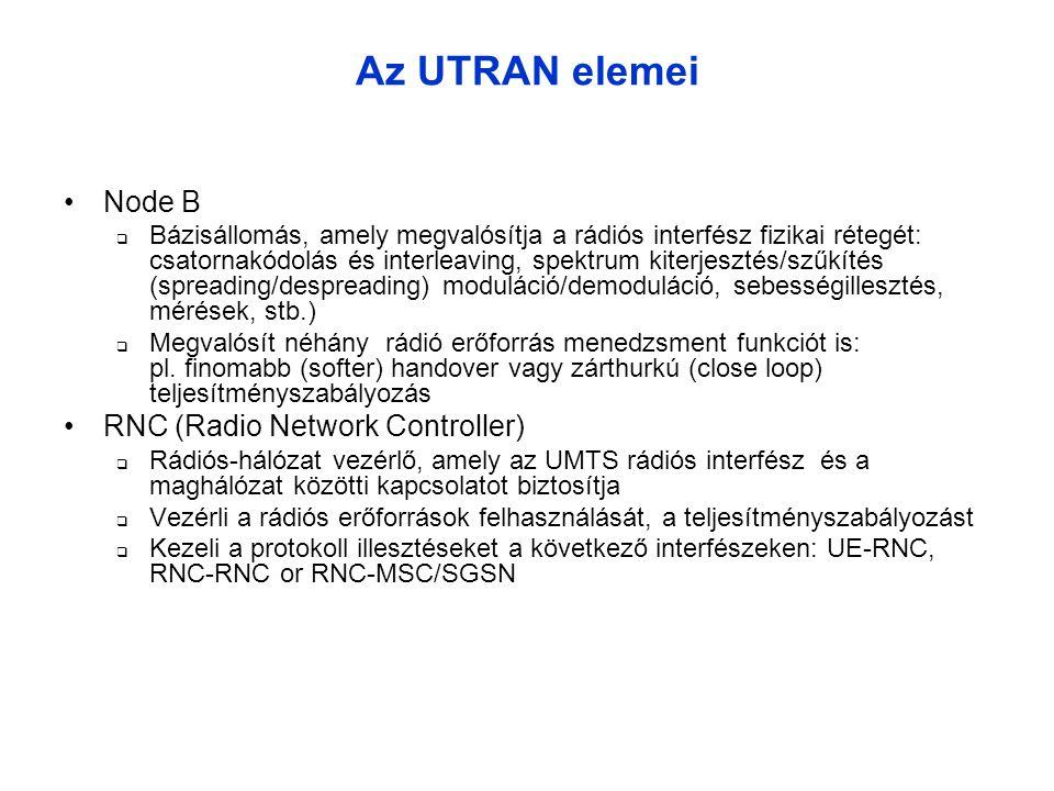 Az UTRAN elemei •Node B  Bázisállomás, amely megvalósítja a rádiós interfész fizikai rétegét: csatornakódolás és interleaving, spektrum kiterjesztés/szűkítés (spreading/despreading) moduláció/demoduláció, sebességillesztés, mérések, stb.)  Megvalósít néhány rádió erőforrás menedzsment funkciót is: pl.