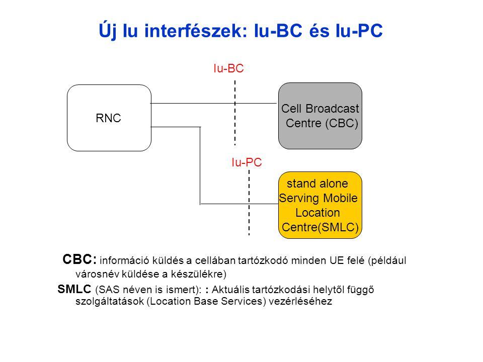 Új Iu interfészek: Iu-BC és Iu-PC CBC: információ küldés a cellában tartózkodó minden UE felé (például városnév küldése a készülékre) SMLC (SAS néven is ismert): : Aktuális tartózkodási helytől függő szolgáltatások (Location Base Services) vezérléséhez RNC Cell Broadcast Centre (CBC) Iu-BC stand alone Serving Mobile Location Centre(SMLC) Iu-PC