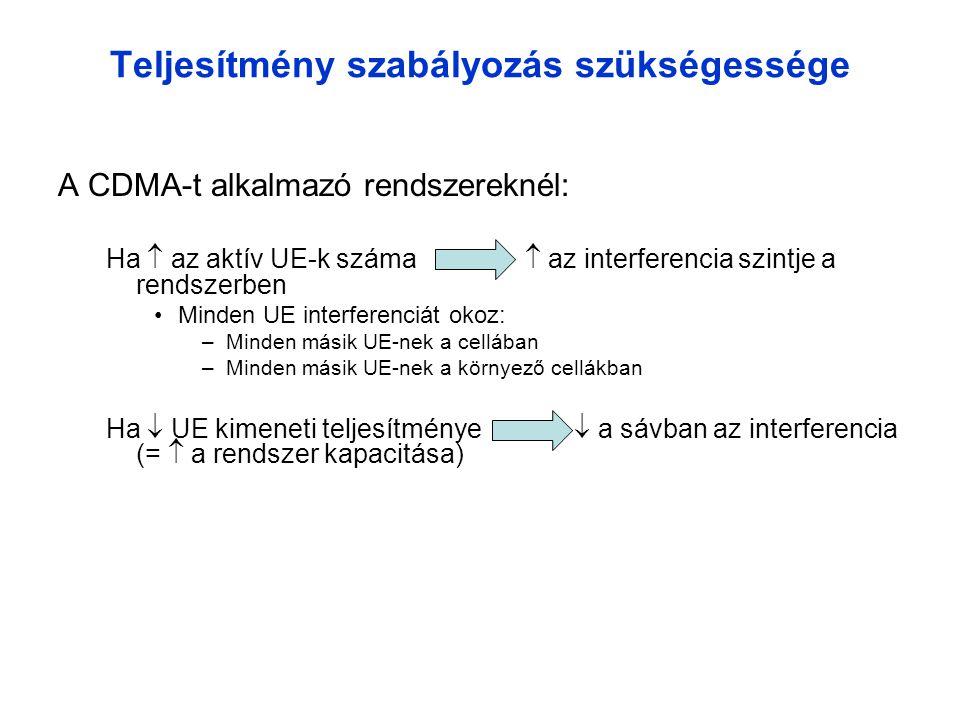 Teljesítmény szabályozás szükségessége A CDMA-t alkalmazó rendszereknél: Ha  az aktív UE-k száma  az interferencia szintje a rendszerben •Minden UE interferenciát okoz: –Minden másik UE-nek a cellában –Minden másik UE-nek a környező cellákban Ha  UE kimeneti teljesítménye  a sávban az interferencia (=  a rendszer kapacitása)