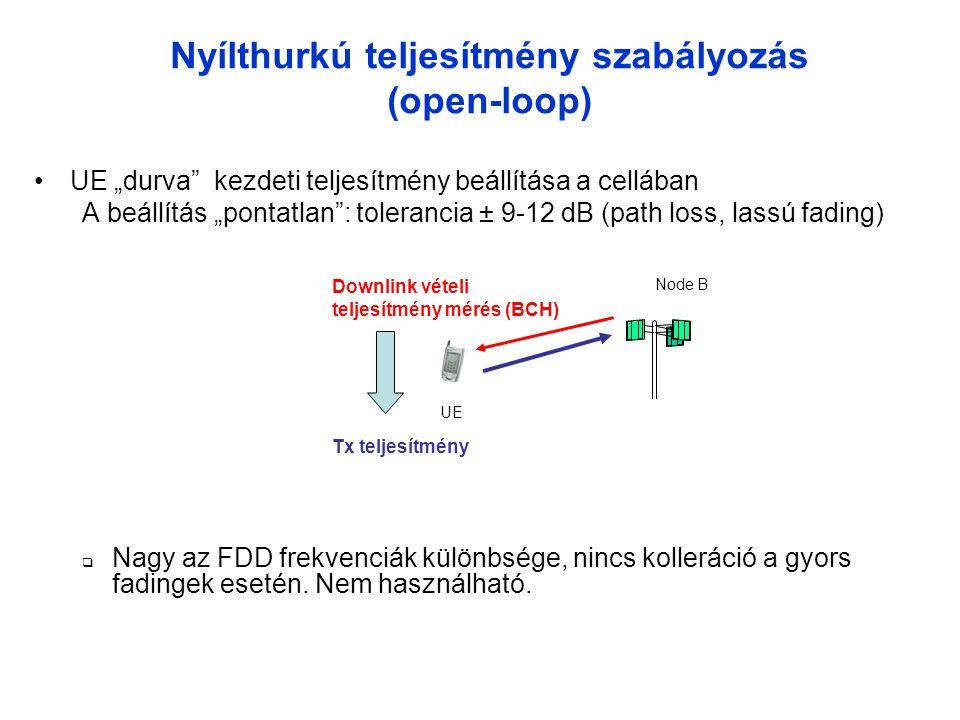 """Nyílthurkú teljesítmény szabályozás (open-loop) •UE """"durva kezdeti teljesítmény beállítása a cellában A beállítás """"pontatlan : tolerancia ± 9-12 dB (path loss, lassú fading)  Nagy az FDD frekvenciák különbsége, nincs kolleráció a gyors fadingek esetén."""