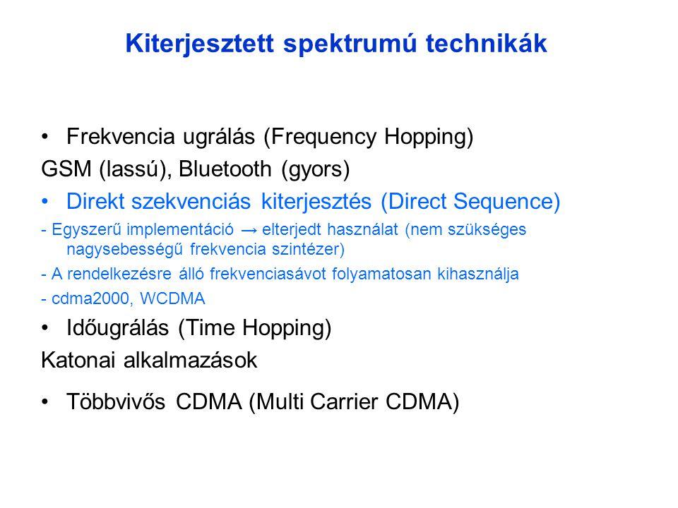 Kiterjesztett spektrumú technikák •Frekvencia ugrálás (Frequency Hopping) GSM (lassú), Bluetooth (gyors) •Direkt szekvenciás kiterjesztés (Direct Sequence) - Egyszerű implementáció → elterjedt használat (nem szükséges nagysebességű frekvencia szintézer) - A rendelkezésre álló frekvenciasávot folyamatosan kihasználja - cdma2000, WCDMA •Időugrálás (Time Hopping) Katonai alkalmazások •Többvivős CDMA (Multi Carrier CDMA)