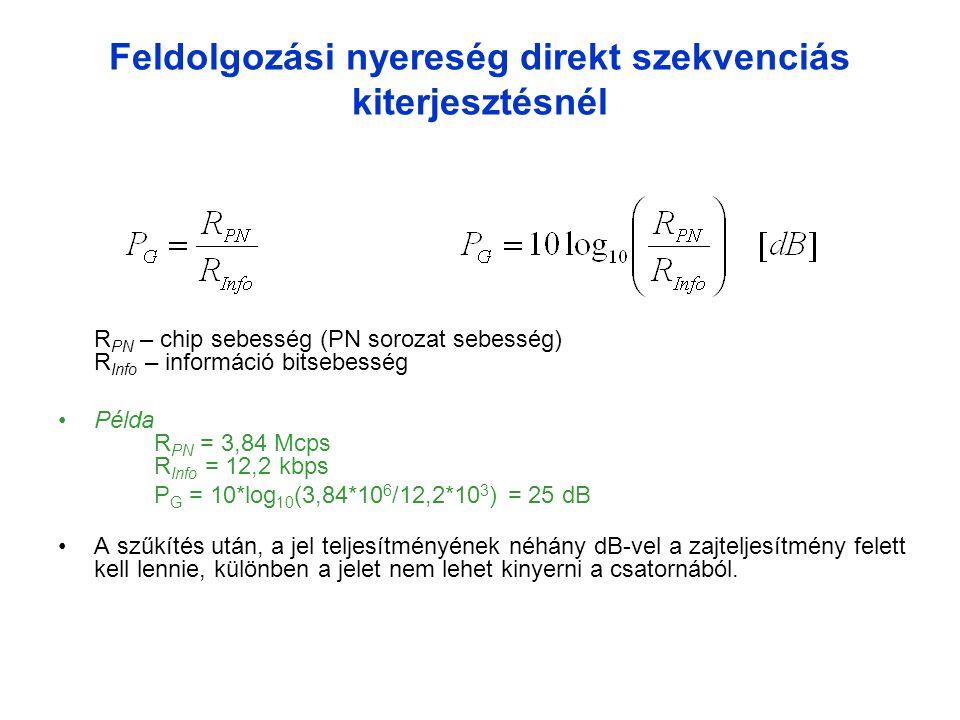 Feldolgozási nyereség direkt szekvenciás kiterjesztésnél R PN – chip sebesség (PN sorozat sebesség) R Info – információ bitsebesség •Példa R PN = 3,84 Mcps R Info = 12,2 kbps P G = 10*log 10 (3,84*10 6 /12,2*10 3 ) = 25 dB •A szűkítés után, a jel teljesítményének néhány dB-vel a zajteljesítmény felett kell lennie, különben a jelet nem lehet kinyerni a csatornából.