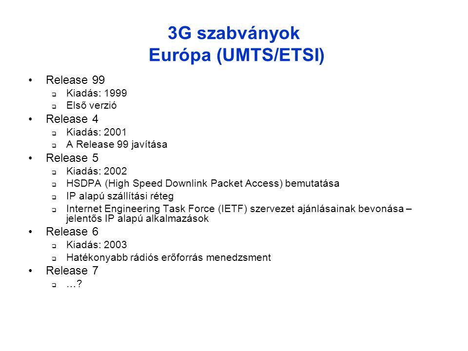 3G szabványok Európa (UMTS/ETSI) •Release 99  Kiadás: 1999  Első verzió •Release 4  Kiadás: 2001  A Release 99 javítása •Release 5  Kiadás: 2002  HSDPA (High Speed Downlink Packet Access) bemutatása  IP alapú szállítási réteg  Internet Engineering Task Force (IETF) szervezet ajánlásainak bevonása – jelentős IP alapú alkalmazások •Release 6  Kiadás: 2003  Hatékonyabb rádiós erőforrás menedzsment •Release 7  …?