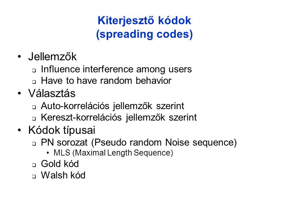 Kiterjesztő kódok (spreading codes) •Jellemzők  Influence interference among users  Have to have random behavior •Választás  Auto-korrelációs jellemzők szerint  Kereszt-korrelációs jellemzők szerint •Kódok típusai  PN sorozat (Pseudo random Noise sequence) •MLS (Maximal Length Sequence)  Gold kód  Walsh kód