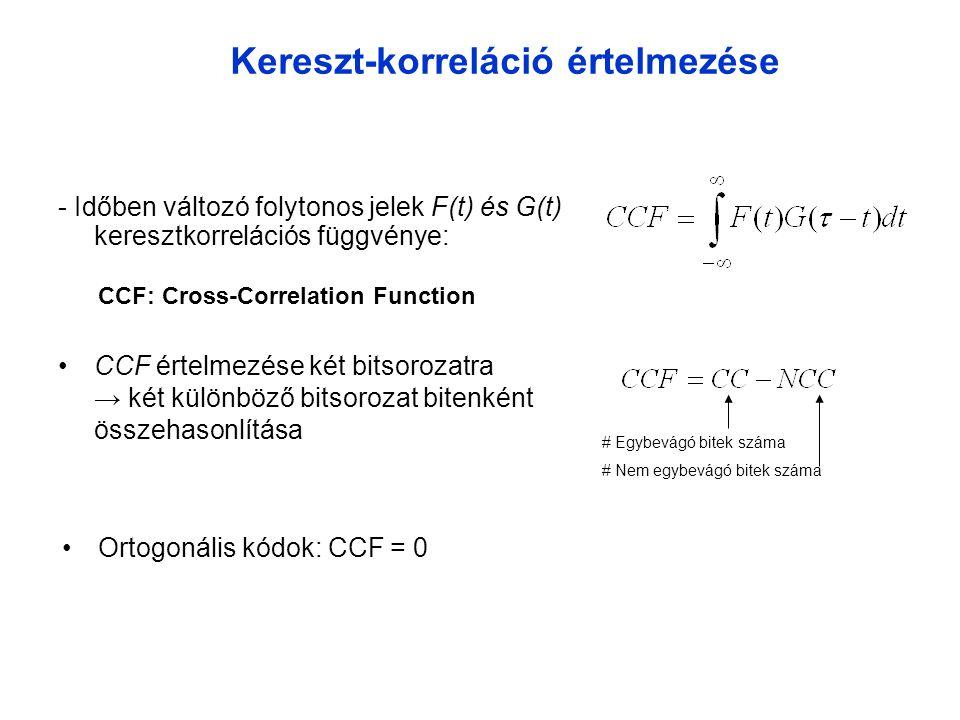 Kereszt-korreláció értelmezése - Időben változó folytonos jelek F(t) és G(t) keresztkorrelációs függvénye: •CCF értelmezése két bitsorozatra → két különböző bitsorozat bitenként összehasonlítása # Egybevágó bitek száma # Nem egybevágó bitek száma •Ortogonális kódok: CCF = 0 CCF: Cross-Correlation Function