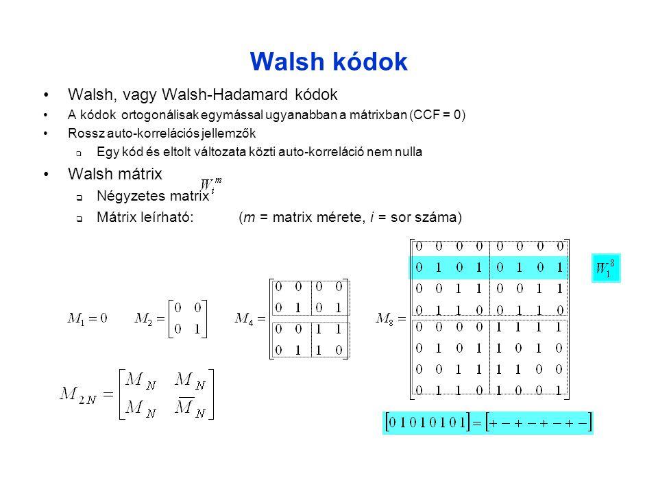 Walsh kódok •Walsh, vagy Walsh-Hadamard kódok •A kódok ortogonálisak egymással ugyanabban a mátrixban (CCF = 0) •Rossz auto-korrelációs jellemzők  Egy kód és eltolt változata közti auto-korreláció nem nulla •Walsh mátrix  Négyzetes matrix  Mátrix leírható: (m = matrix mérete, i = sor száma)