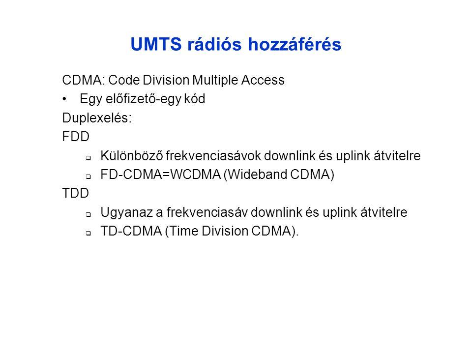 UMTS frekvenciasávok (Európa) DuplexelésUplinkDownlinkSáv UMTS-FDD 1920 - 1980 MHz2110 - 2170 MHz60 + 60 MHz UMTS-TDD 1900 - 1920 MHz UL/DL 2010 - 2025 MHz UL/DL 20 + 15 MHz Műhold 1980 - 2010 MHz2170 - 2200 MHz30 + 30 MHz 2000-ben, új frekvenciasávok  806 - 960 MHz, 1710 - 1885 MHz  2500 - 2690 MHz A frekvenciasávokat 1992-ben specifikálták GSM Europe DECT GSM 1800 180019002000 210022002500 2600 2700 UMTS FDD Műhold UMTS TDD UMTS FDD Műhold UMTS [MHz] Páros sávok Páratlan sávok Csatorna távolság: 5,10, vagy 20 MHz
