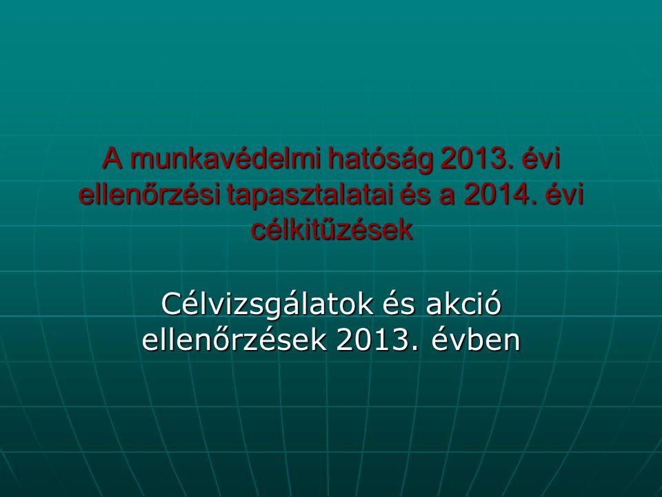 A munkavédelmi hatóság 2013. évi ellenőrzési tapasztalatai és a 2014. évi célkitűzések Célvizsgálatok és akció ellenőrzések 2013. évben