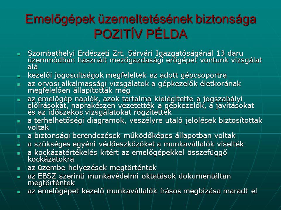 Emelőgépek üzemeltetésének biztonsága POZITÍV PÉLDA  Szombathelyi Erdészeti Zrt. Sárvári Igazgatóságánál 13 daru üzemmódban használt mezőgazdasági er