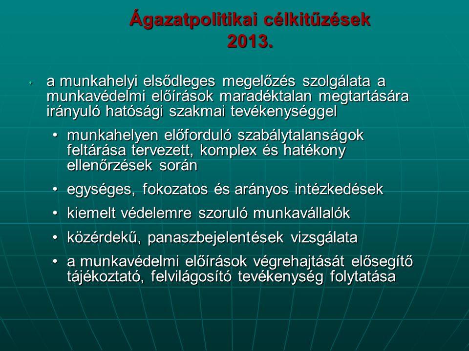 Ágazatpolitikai célkitűzések 2013. • a munkahelyi elsődleges megelőzés szolgálata a munkavédelmi előírások maradéktalan megtartására irányuló hatósági