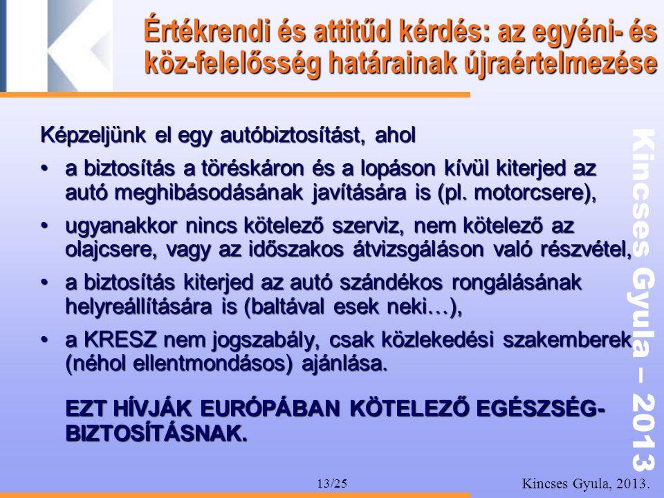 Kincses Gyula – 2013 Kincses Gyula, 2013. 13/25 Értékrendi és attitűd kérdés: az egyéni- és köz-felelősség határainak újraértelmezése Képzeljünk el eg
