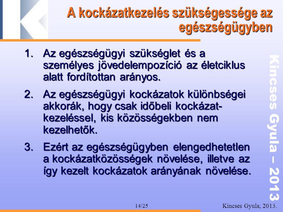 Kincses Gyula – 2013 Kincses Gyula, 2013. 14/25 A kockázatkezelés szükségessége az egészségügyben 1.Az egészségügyi szükséglet és a személyes jövedele
