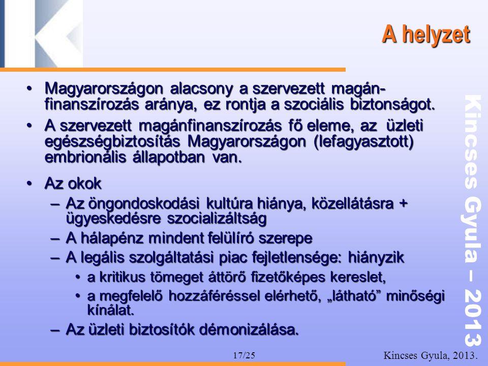 Kincses Gyula – 2013 Kincses Gyula, 2013. 17/25 A helyzet •Magyarországon alacsony a szervezett magán- finanszírozás aránya, ez rontja a szociális biz