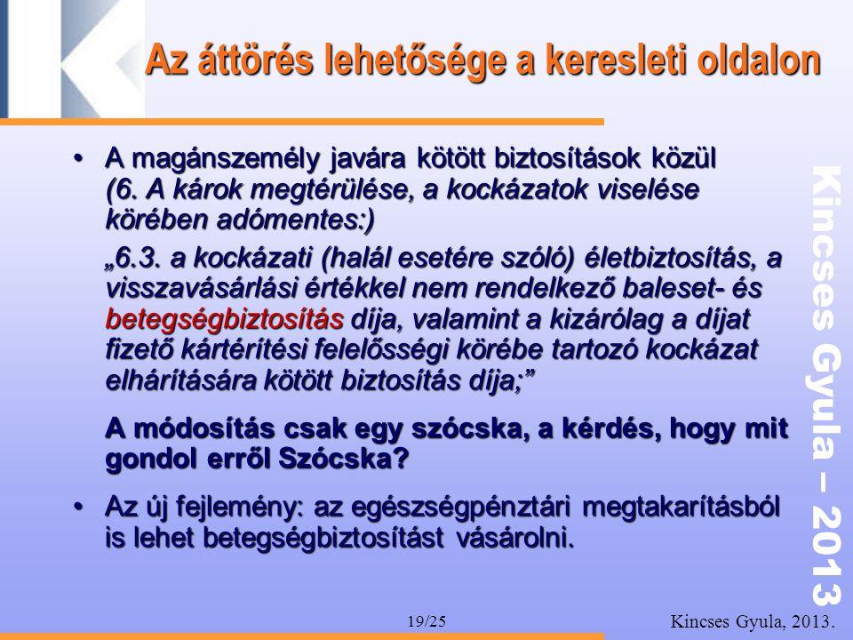 Kincses Gyula – 2013 Kincses Gyula, 2013. 19/25 Az áttörés lehetősége a keresleti oldalon •A magánszemély javára kötött biztosítások közül (6. A károk