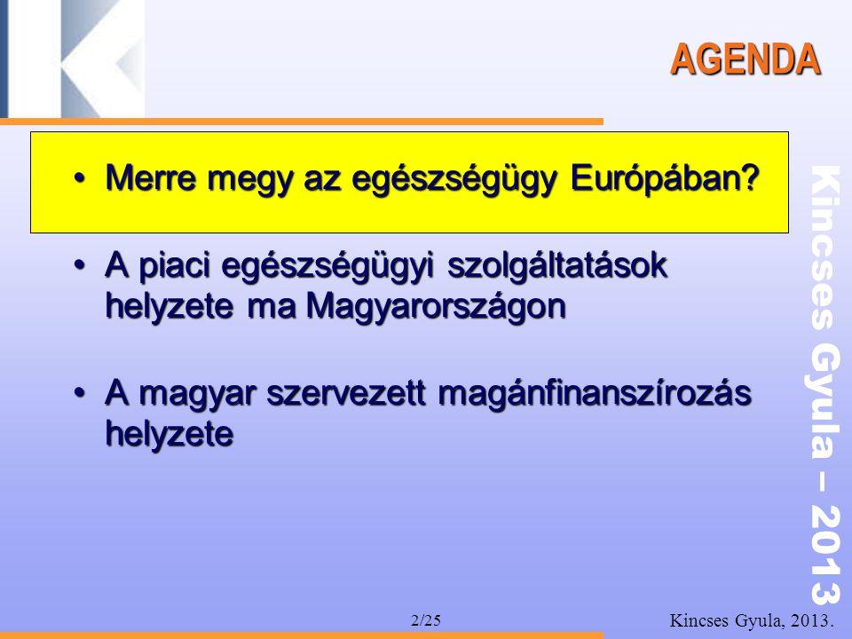 Kincses Gyula – 2013 Kincses Gyula, 2013. 2/25 AGENDA •Merre megy az egészségügy Európában? •A piaci egészségügyi szolgáltatások helyzete ma Magyarors
