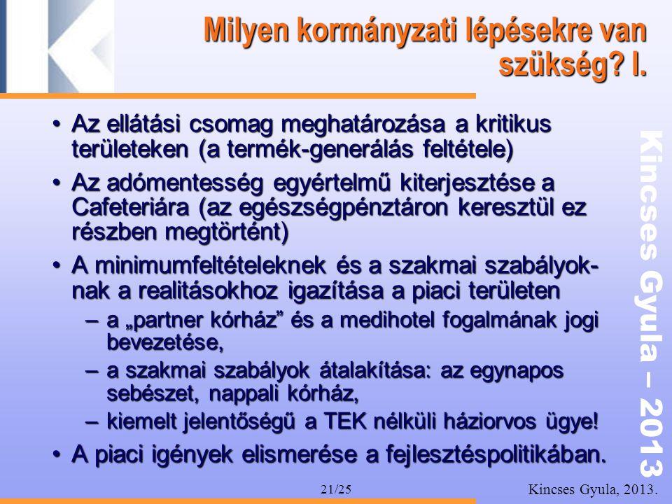 Kincses Gyula – 2013 Kincses Gyula, 2013. 21/25 Milyen kormányzati lépésekre van szükség? I. •Az ellátási csomag meghatározása a kritikus területeken
