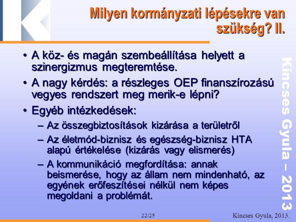 Kincses Gyula – 2013 Kincses Gyula, 2013. 22/25 Milyen kormányzati lépésekre van szükség? II. •A köz- és magán szembeállítása helyett a szinergizmus m