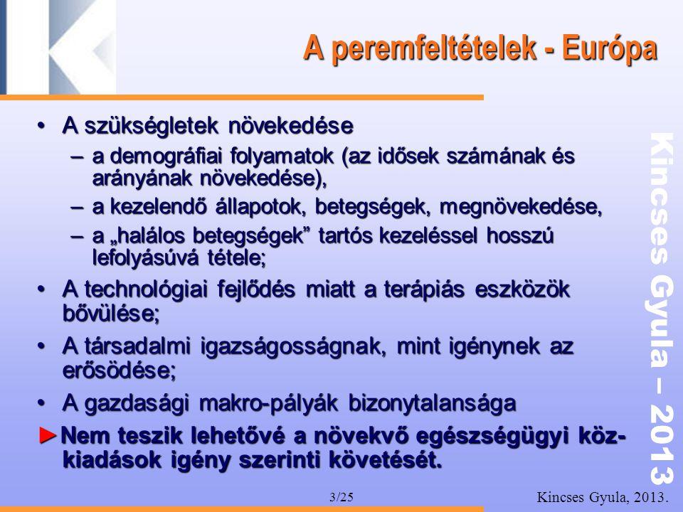 Kincses Gyula – 2013 Kincses Gyula, 2013. 3/25 A peremfeltételek - Európa •A szükségletek növekedése –a demográfiai folyamatok (az idősek számának és