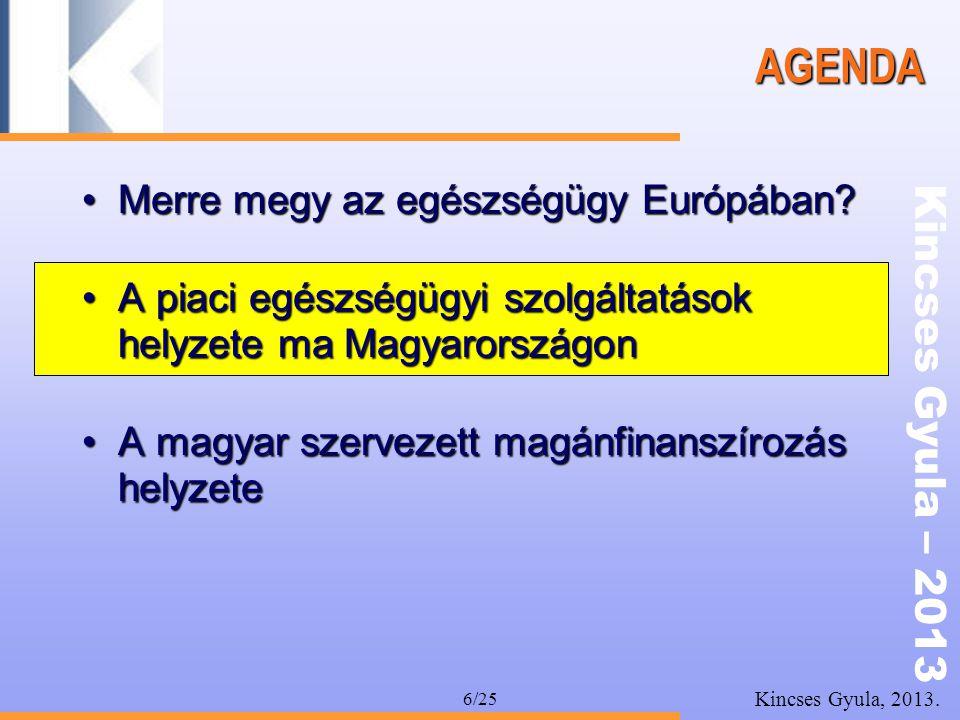 Kincses Gyula – 2013 Kincses Gyula, 2013. 6/25 AGENDA •Merre megy az egészségügy Európában? •A piaci egészségügyi szolgáltatások helyzete ma Magyarors