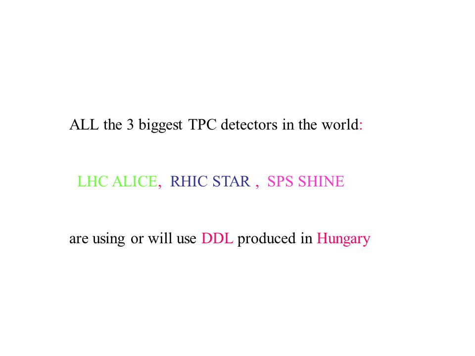 ALL the 3 biggest TPC detectors in the world: LHC ALICE, RHIC STAR, SPS SHINE are using or will use DDL produced in Hungary