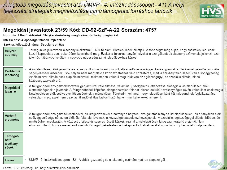 A legtöbb megoldási javaslat a(z) ÚMVP - 4. Intézkedéscsoport - 411 A helyi fejlesztési stratégiák megvalósítása című támogatási forráshoz tartozik 14