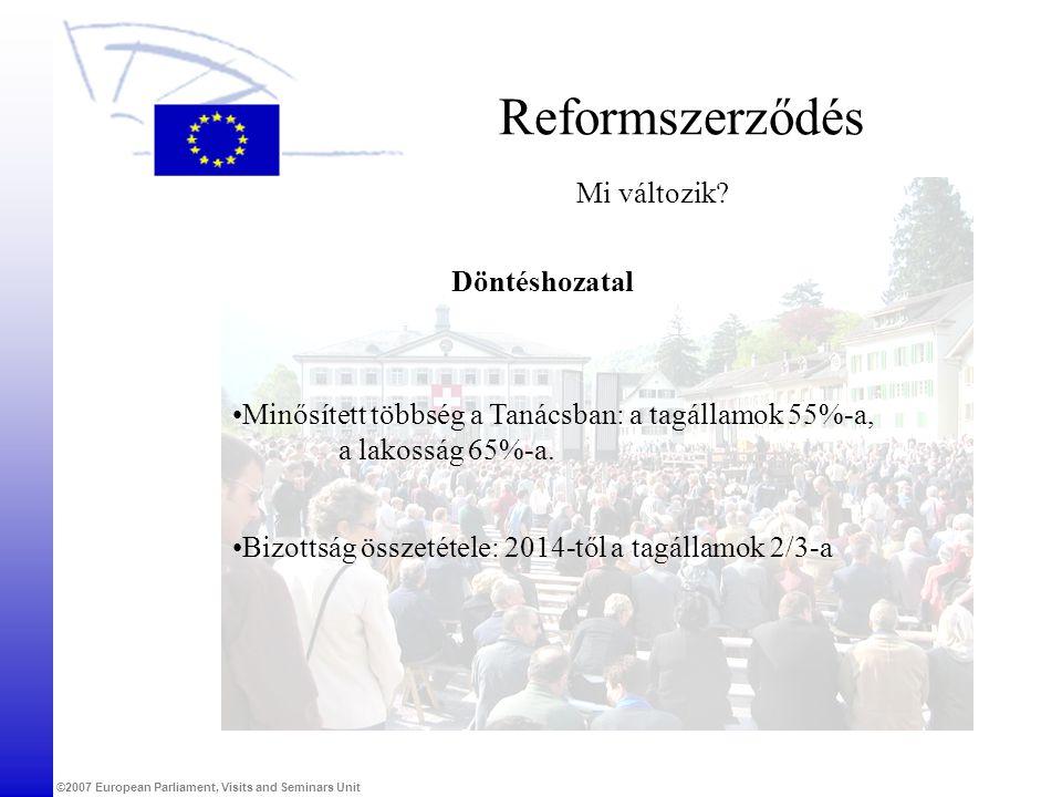 ©2007 European Parliament, Visits and Seminars Unit Reformszerződés Mi változik? Döntéshozatal •Minősített többség a Tanácsban: a tagállamok 55%-a, a