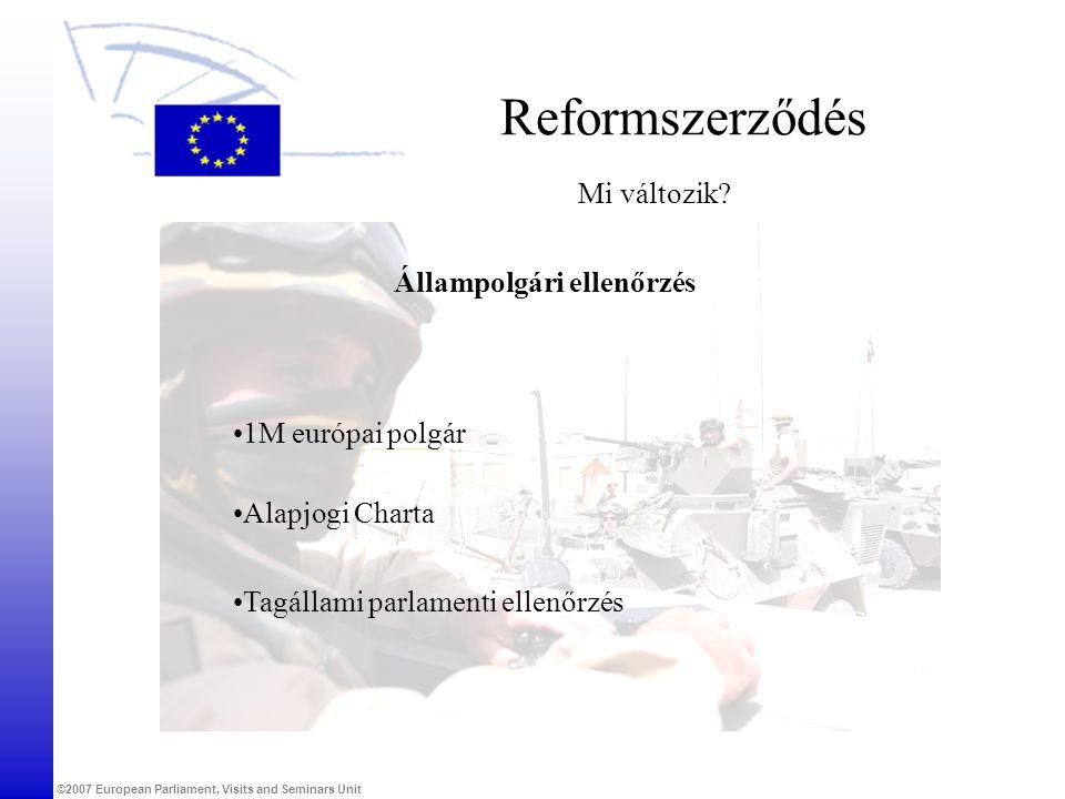 ©2007 European Parliament, Visits and Seminars Unit Reformszerződés Mi változik? Állampolgári ellenőrzés •1M európai polgár •Tagállami parlamenti elle