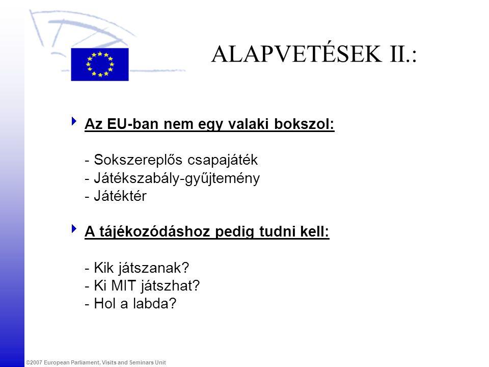 ©2007 European Parliament, Visits and Seminars Unit ALAPVETÉSEK II.:  Az EU-ban nem egy valaki bokszol: - Sokszereplős csapajáték - Játékszabály-gyűj