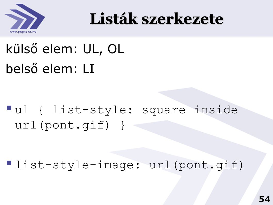 54 Listák szerkezete külső elem: UL, OL belső elem: LI  ul { list-style: square inside url(pont.gif) }  list-style-image: url(pont.gif)
