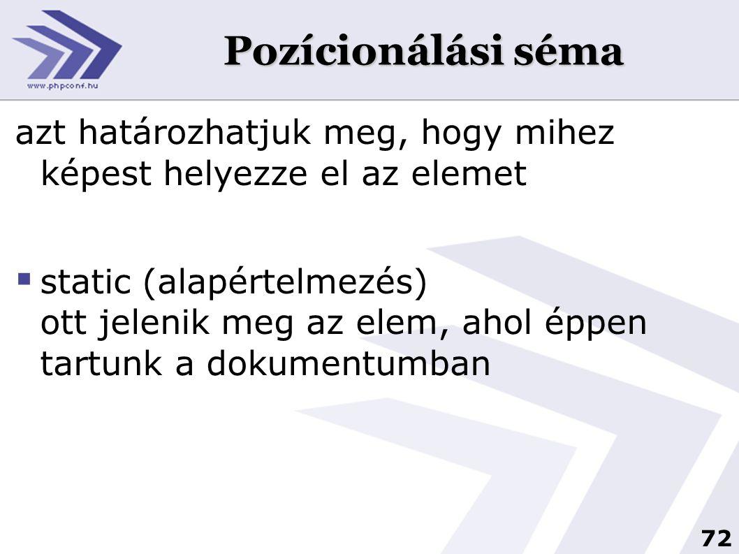 72 Pozícionálási séma azt határozhatjuk meg, hogy mihez képest helyezze el az elemet  static (alapértelmezés) ott jelenik meg az elem, ahol éppen tartunk a dokumentumban