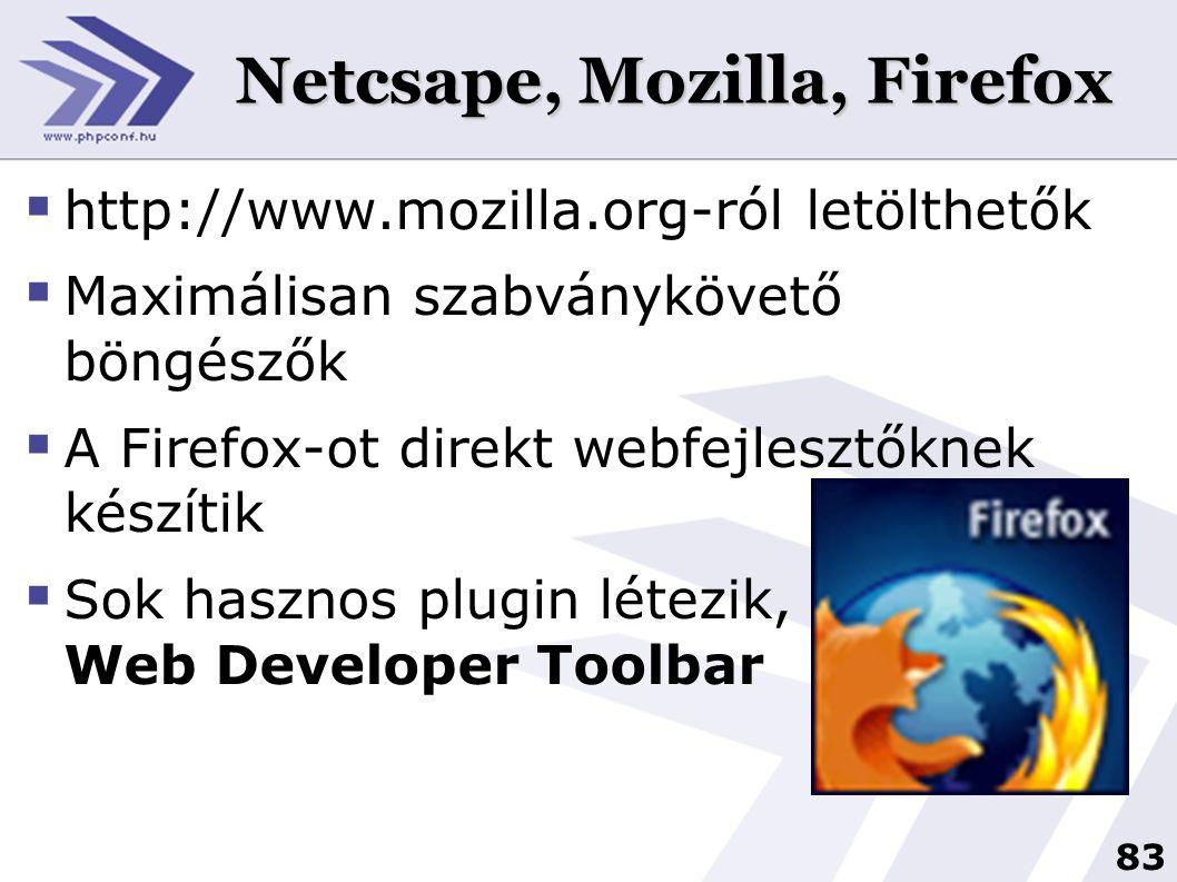 83 Netcsape, Mozilla, Firefox  http://www.mozilla.org-ról letölthetők  Maximálisan szabványkövető böngészők  A Firefox-ot direkt webfejlesztőknek készítik  Sok hasznos plugin létezik, pl: Web Developer Toolbar