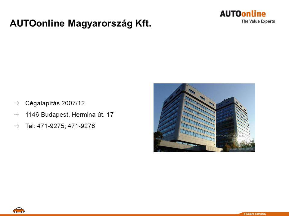 a Solera company AUTOonline Magyarország Kft. Cégalapítás 2007/12 1146 Budapest, Hermina út.