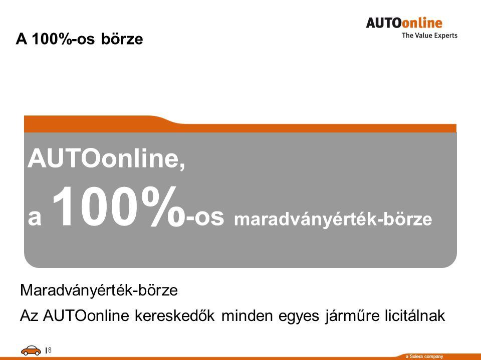 a Solera company 8 I AUTOonline, a 100% -os maradványérték-börze Maradványérték-börze Az AUTOonline kereskedők minden egyes járműre licitálnak A 100%-os börze