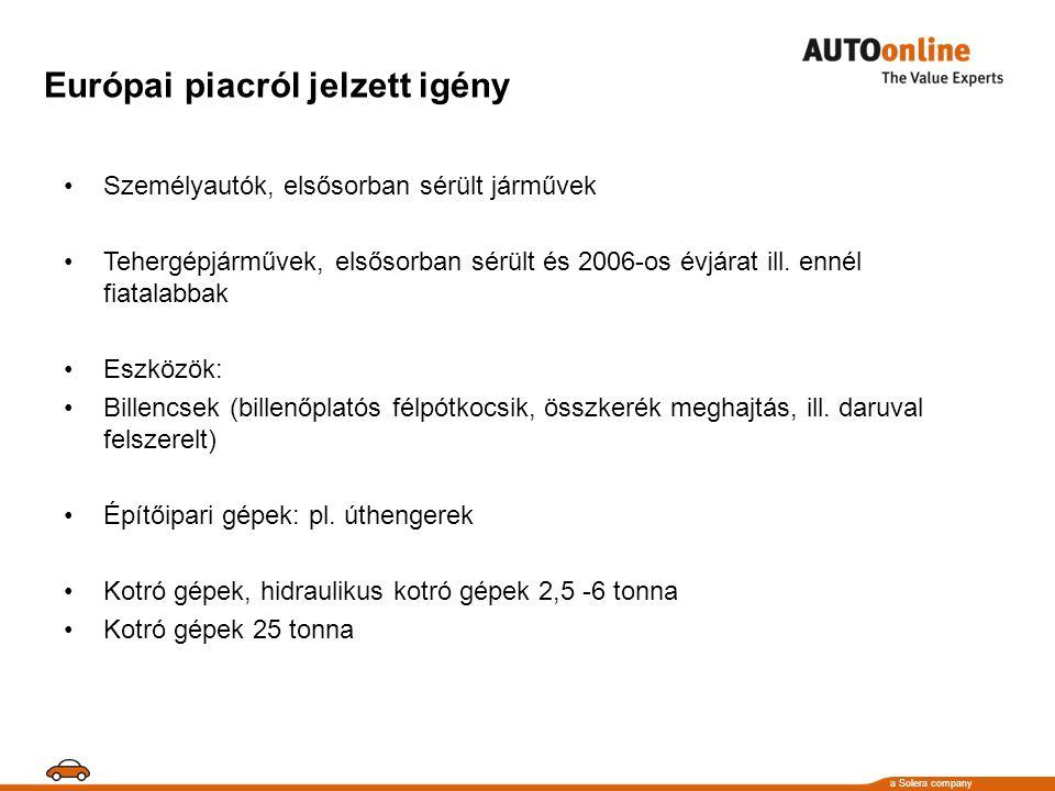 a Solera company Európai piacról jelzett igény •Személyautók, elsősorban sérült járművek •Tehergépjárművek, elsősorban sérült és 2006-os évjárat ill.
