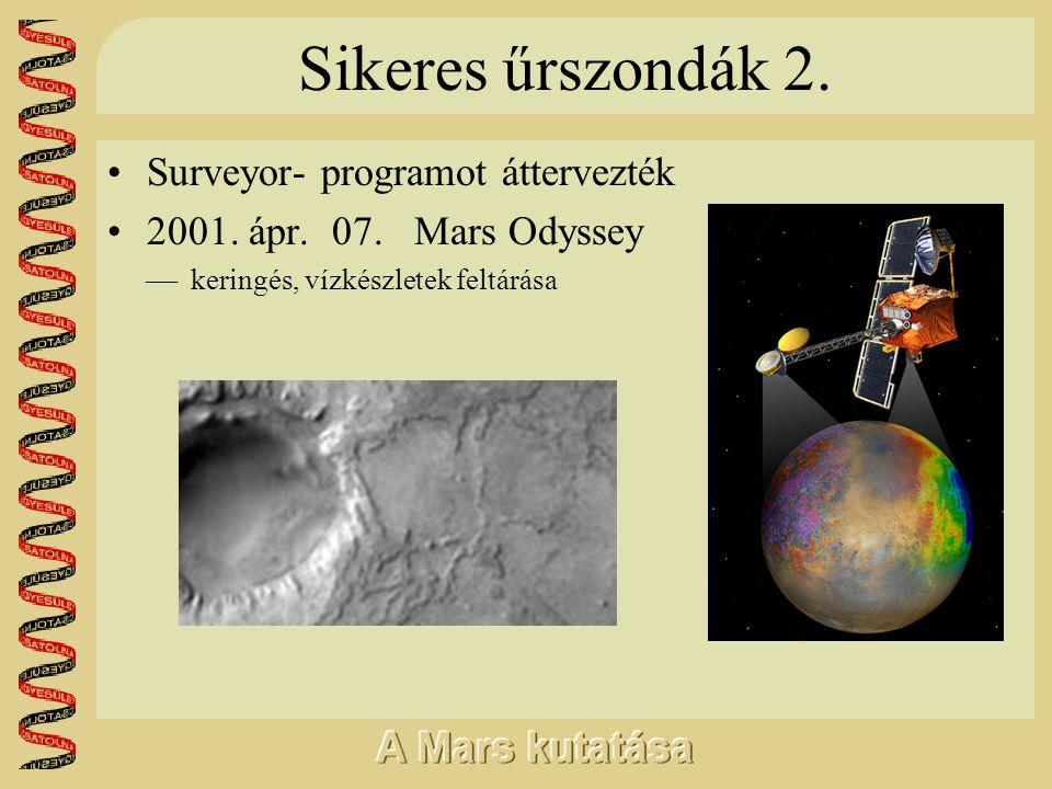Sikeres űrszondák 2. •Surveyor- programot áttervezték •2001. ápr. 07. Mars Odyssey  keringés, vízkészletek feltárása