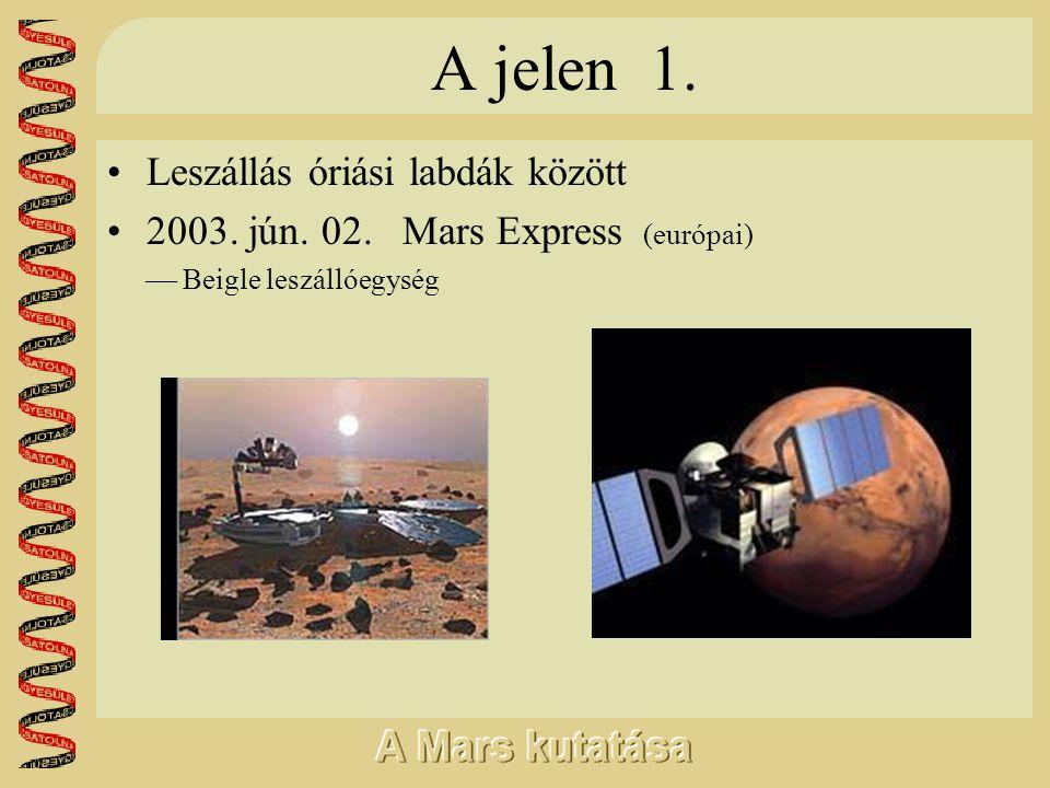 A jelen 1. •Leszállás óriási labdák között •2003. jún. 02. Mars Express (európai)  Beigle leszállóegység