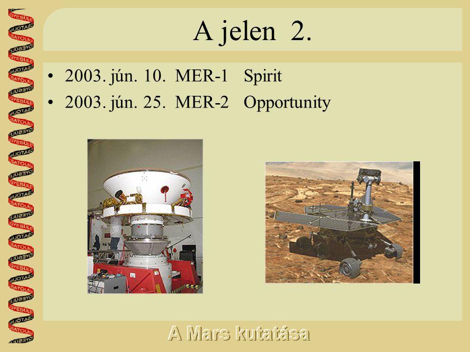 A jelen 2. •2003. jún. 10. MER-1 Spirit •2003. jún. 25. MER-2 Opportunity