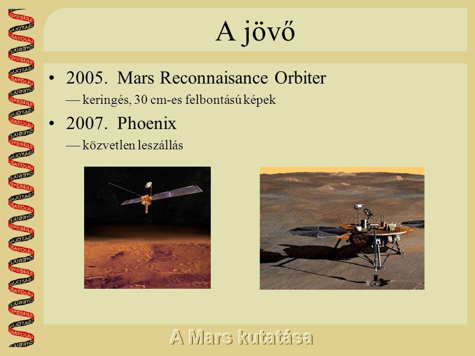 A jövő •2005. Mars Reconnaisance Orbiter  keringés, 30 cm-es felbontású képek •2007. Phoenix  közvetlen leszállás