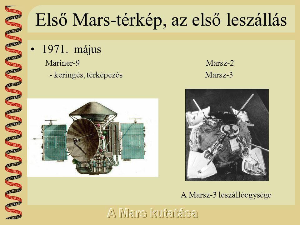 Első Mars-térkép, az első leszállás •1971. május Mariner-9 Marsz-2 - keringés, térképezés Marsz-3 A Marsz-3 leszállóegysége
