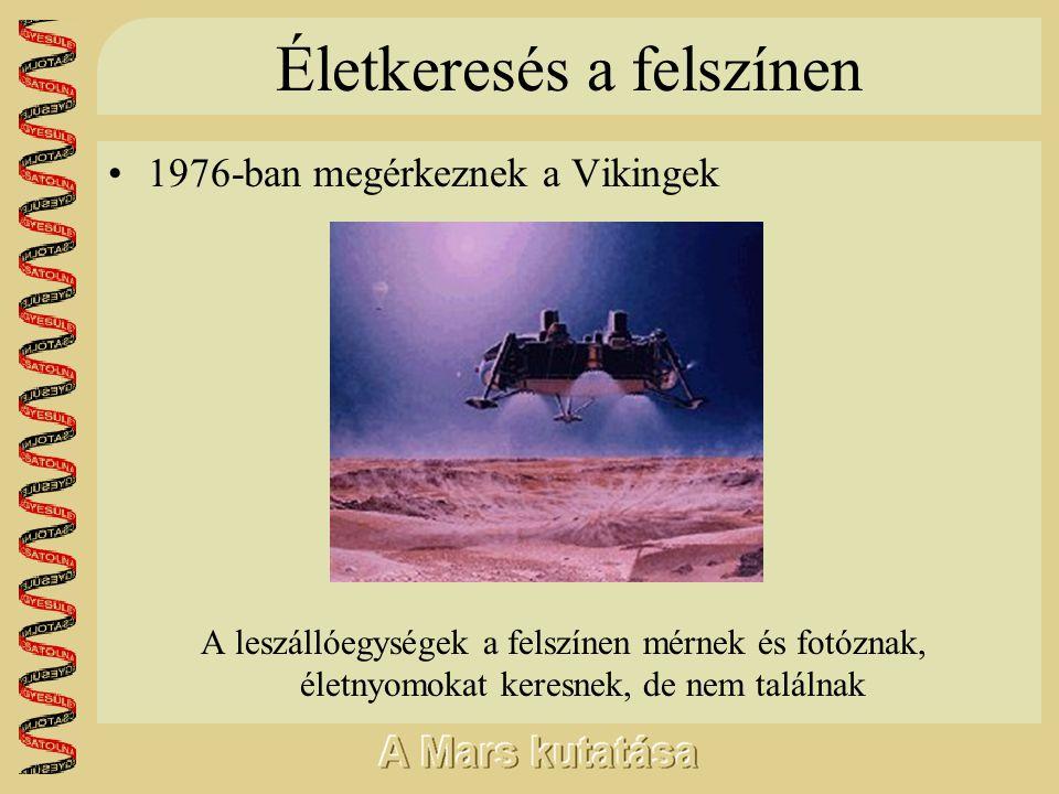 Életkeresés a felszínen •1976-ban megérkeznek a Vikingek A leszállóegységek a felszínen mérnek és fotóznak, életnyomokat keresnek, de nem találnak