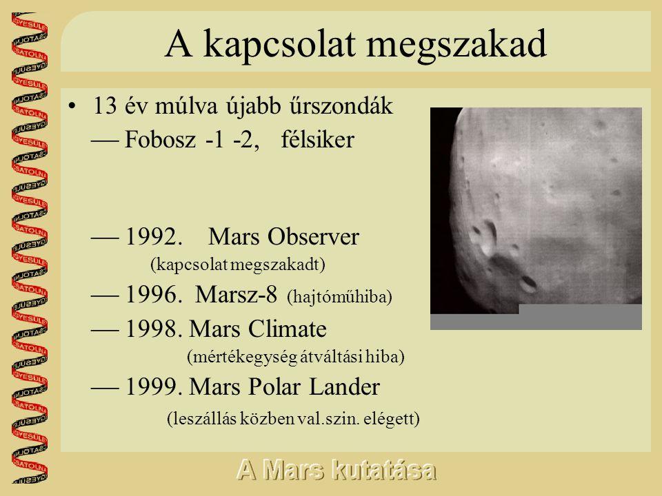 A kapcsolat megszakad •13 év múlva újabb űrszondák  Fobosz -1 -2, félsiker  1992. Mars Observer (kapcsolat megszakadt)  1996. Marsz-8 (hajtóműhiba)