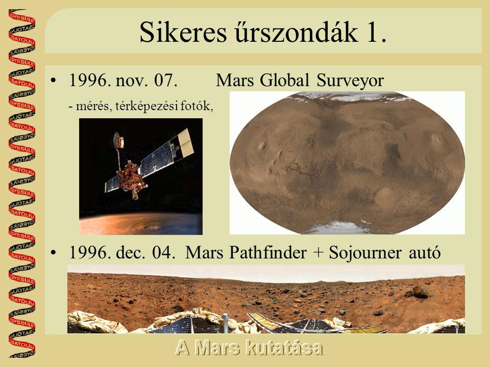 Sikeres űrszondák 1. •1996. nov. 07. Mars Global Surveyor - mérés, térképezési fotók, •1996. dec. 04. Mars Pathfinder + Sojourner autó