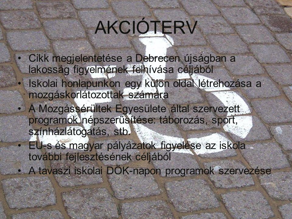 AKCIÓTERV •Cikk megjelentetése a Debrecen újságban a lakosság figyelmének felhívása céljából •Iskolai honlapunkon egy külön oldal létrehozása a mozgás