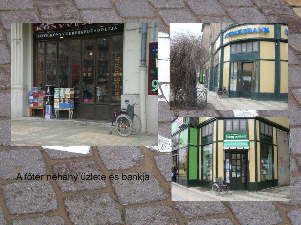 A főtér néhány üzlete és bankja
