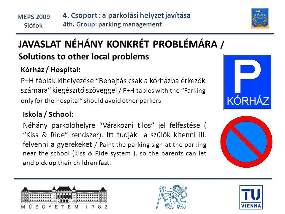 """MEPS 2009 Siófok 4. Csoport : a parkolási helyzet javítása 4th. Group: parking management Iskola / School: Néhány parkolóhelyre """"Várakozni tilos"""" jel"""