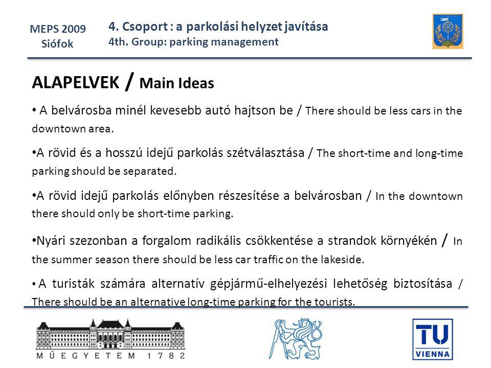 MEPS 2009 Siófok 4. Csoport : a parkolási helyzet javítása 4th. Group: parking management ALAPELVEK / Main Ideas • A belvárosba minél kevesebb autó ha