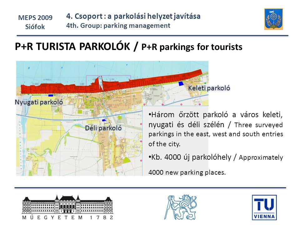 MEPS 2009 Siófok 4. Csoport : a parkolási helyzet javítása 4th. Group: parking management P+R TURISTA PARKOLÓK / P+R parkings for tourists • Három őrz